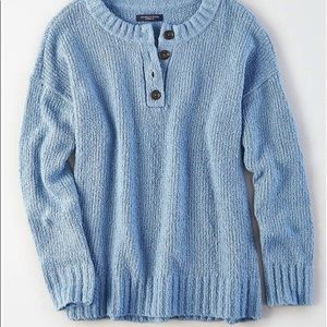 American Eagle Henley Knit Sweater Button Front M